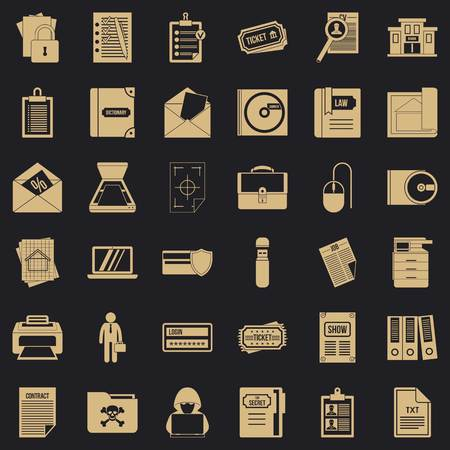 Working document icons set, simple style