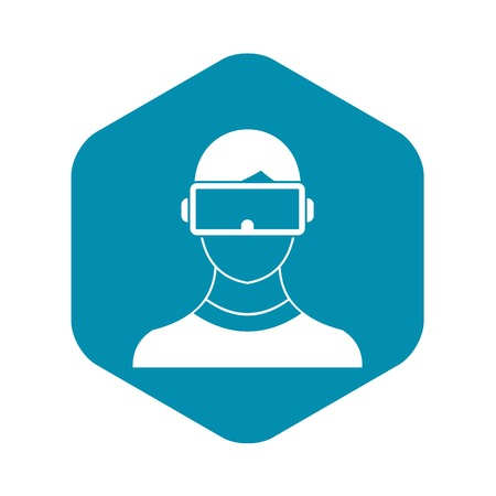 Virtual 3d reality goggles icon, simple style