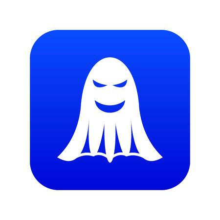 Ghost icon digital blue for any design isolated on white vector illustration