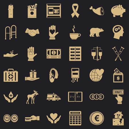 Donation work icons set, simple style