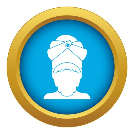 Indian man icon blue vector isolated
