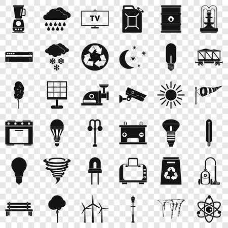 Recycling icons set, simple style Banque d'images - 120361163