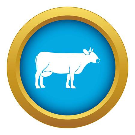 Cow icon blue vector isolated