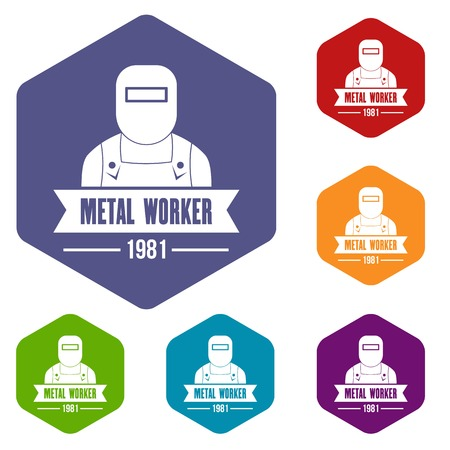 Metal worker icons vector hexahedron
