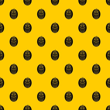 Ripe smiling melon pattern seamless vector repeat geometric yellow for any design Ilustração