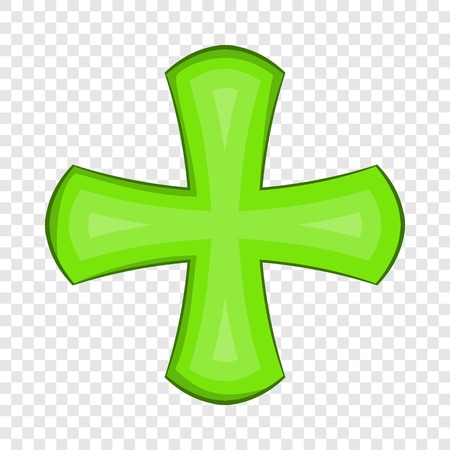 Green cross icon in cartoon style on a background for any web design