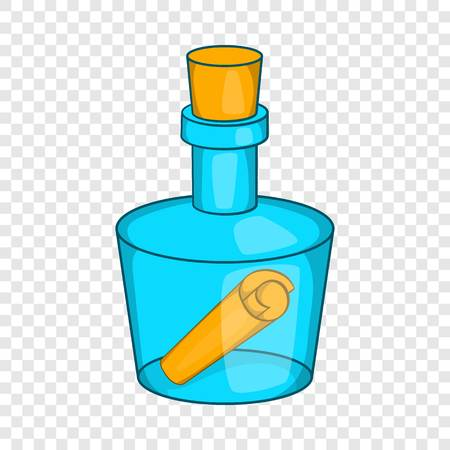Bottle with letter icon in cartoon style on a background for any web design Vettoriali