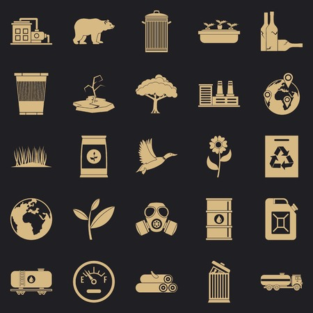 Enviroment protection icons set, simple style