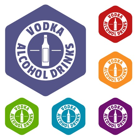 Quality vodka icons vector hexahedron