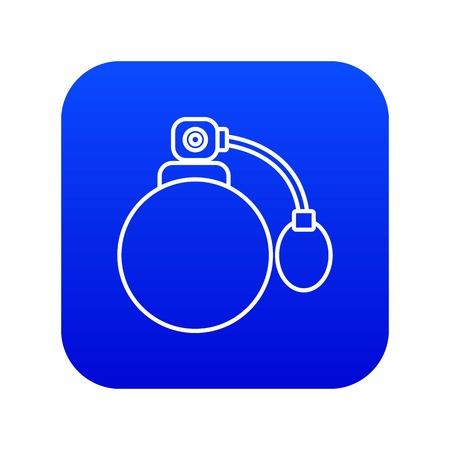 Retro perfume bottle icon blue vector Illustration