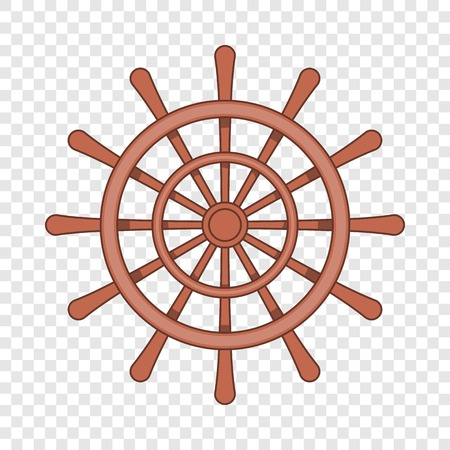 Wooden ship wheel icon in cartoon style on a background for any web design