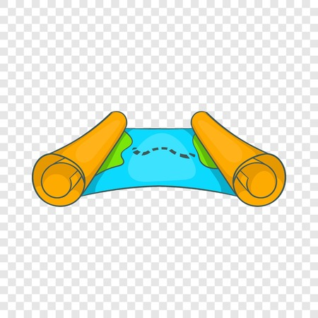 Ancient scroll map icon in cartoon style on a background for any web design