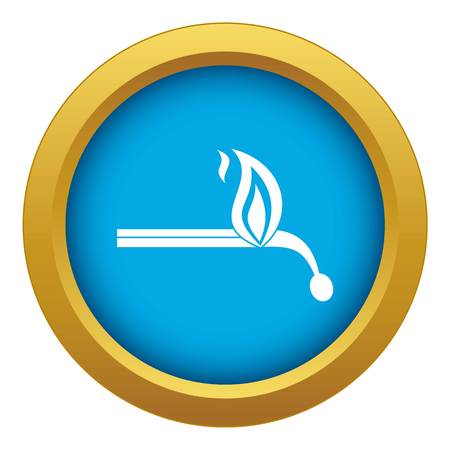 Burning match icon blue vector isolated