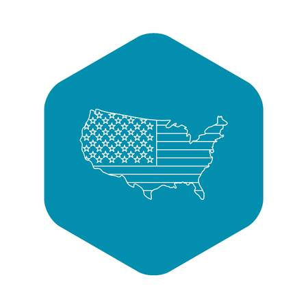 American map icon , outline style