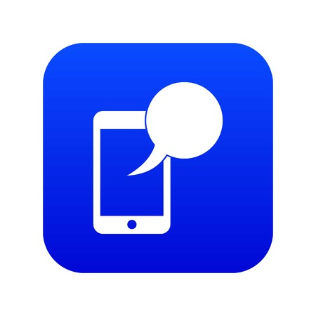Speech bubble on phone icon digital blue for any design isolated on white vector illustration