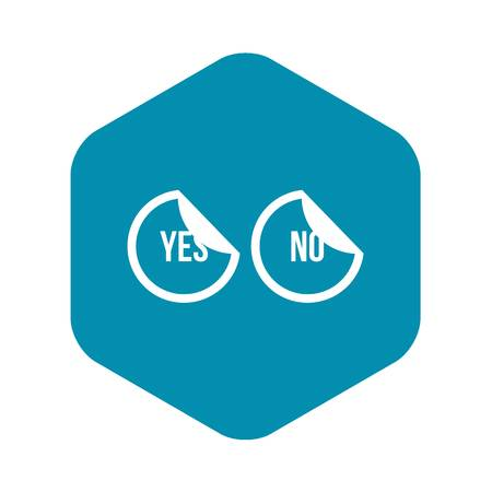 Yes and no buttons icon in simple style isolated on white background. Click and choice symbol