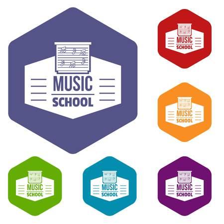 Music school icons vector hexahedron