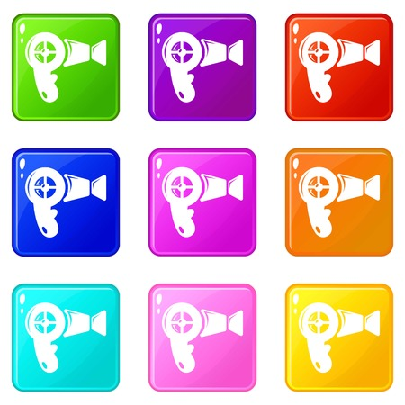 Hair dryer icons set 9 color collection isolated on white for any design Illustration