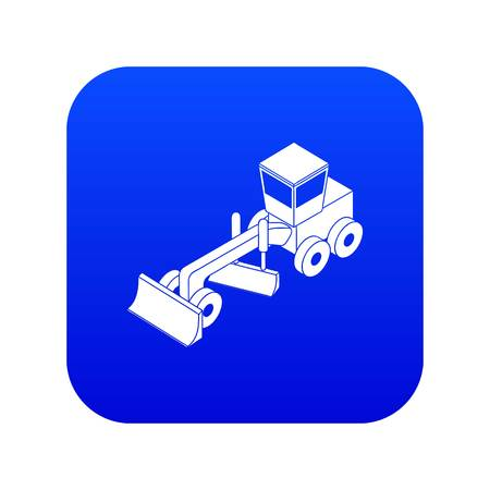 Grader icon blue vector isolated on white background