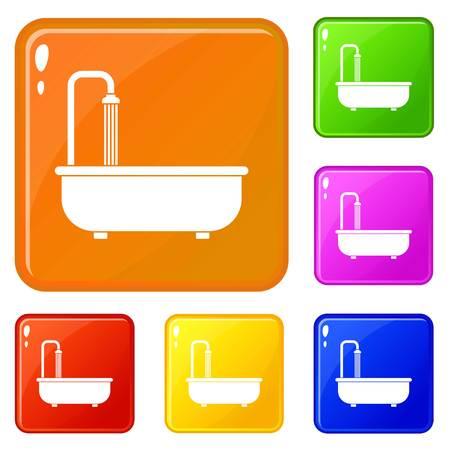 Bathroom icons set vector color