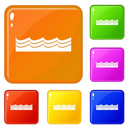 Water icons set vector color