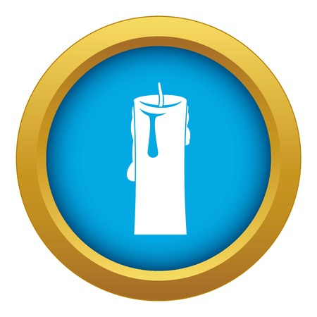 One candle icon blue vector isolated