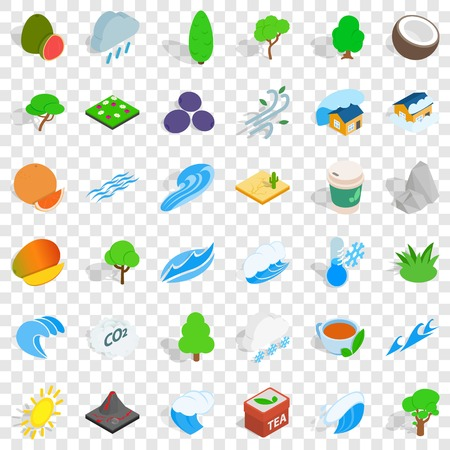 Small tree icons set, isometric style