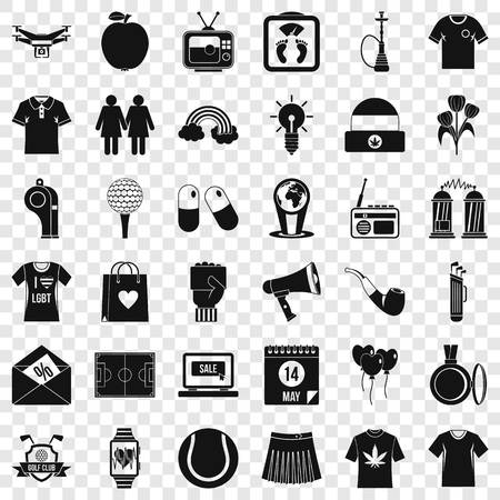 Shirt polo icons set, simple style Illusztráció
