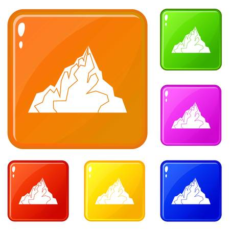 Iceberg icons set vector color Illustration
