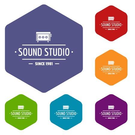 Speaker sound studio icons vector hexahedron