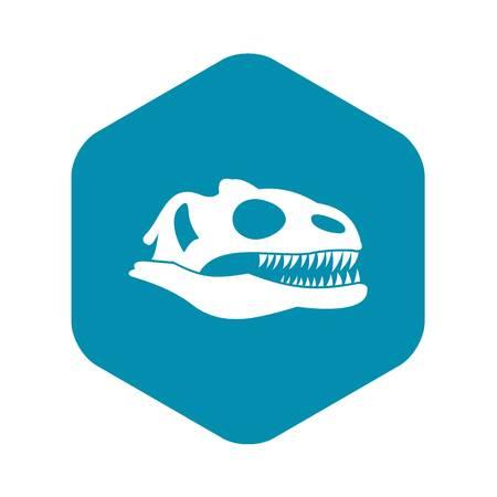 Skull of dinosaur icon, simple style