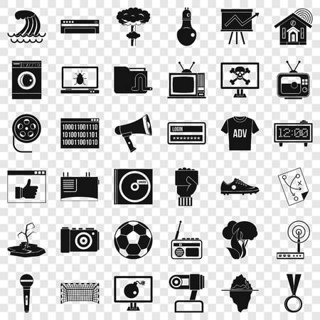 TV set icons set, simple style
