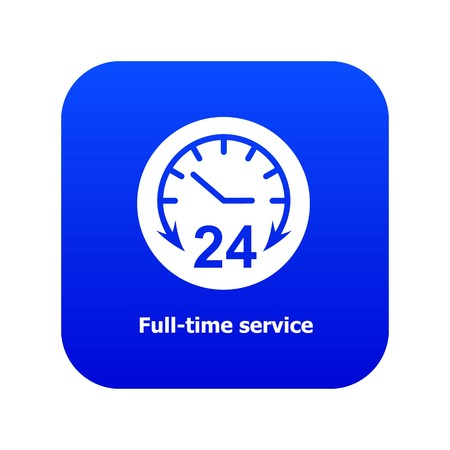 Full time service icon blue vector isolated on white background
