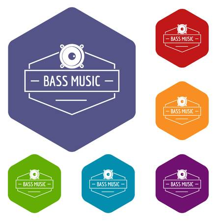 Bass music icons vector hexahedron