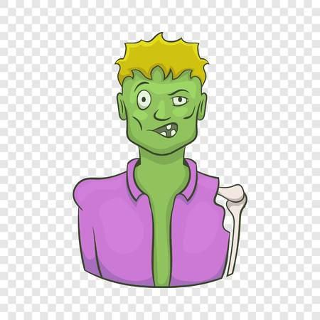 Halloween zombie icon in cartoon style isolated on background for any web design Illustration