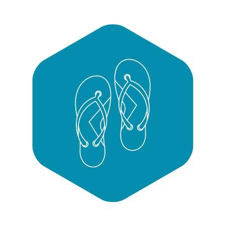 Flip flops icon. Outline illustration of flip flops vector icon for web