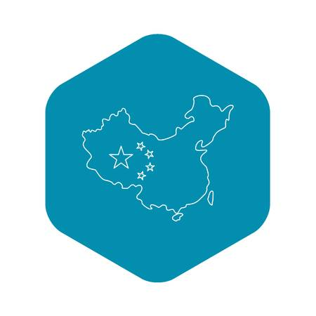 Map of China with flag icon. Outline illustration of map of China with flag vector icon for web Illustration