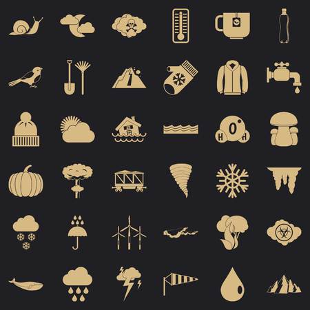 Autumn cloud icons set, simple style