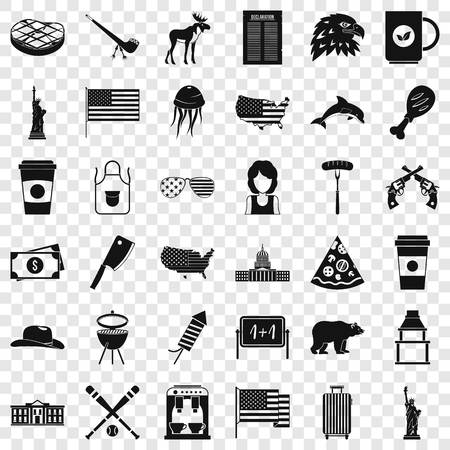 Uncle sam icons set, simple style
