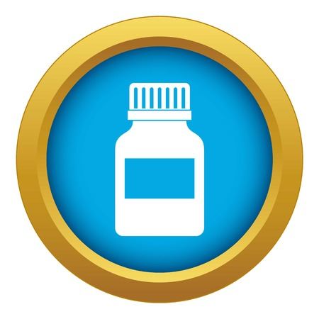 Medicine bottle icon blue vector isolated Illustration