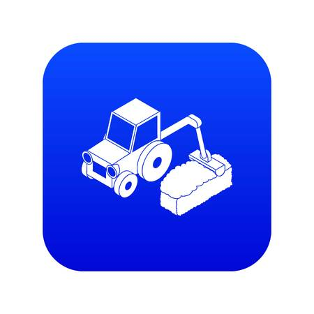Road tractor icon blue vector isolated on white background
