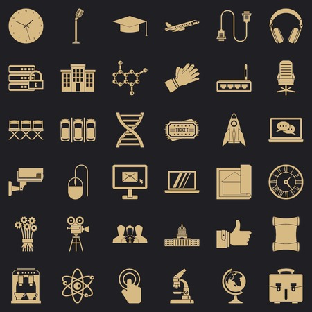 Seminar icons set, simple style Stock Illustratie