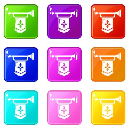 Ancient trumpet with flag icons set 9 color collection isolated on white for any design