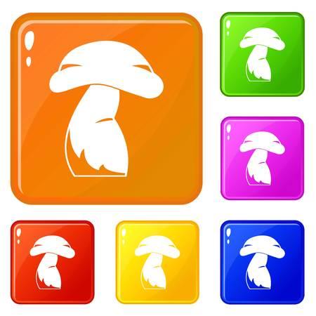 Good mushroom icons set vector color