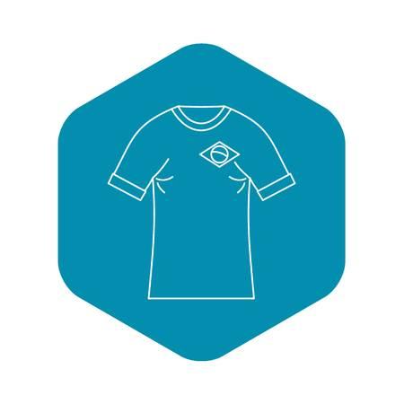 Brazilian football t shirt icon. Outline illustration of brazilian football t shirt vector icon for web