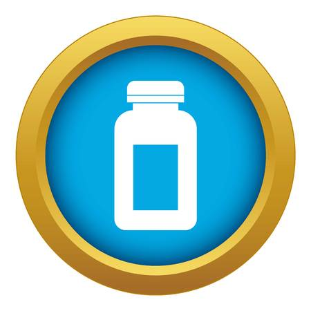 Medicine jar icon blue vector isolated