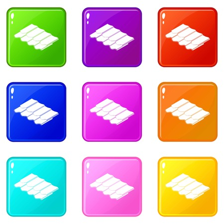 Metal tile icons set 9 color collection isolated on white for any design