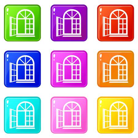 Window frame icons set 9 color collection