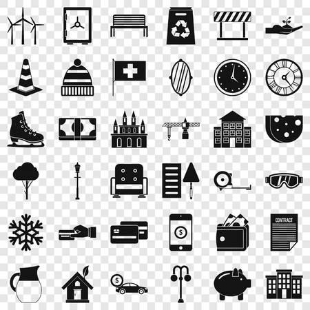 Villa for sale icons set, simple style Stock Illustratie