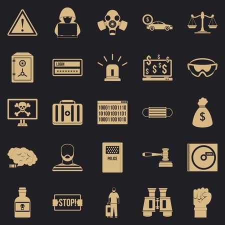 Fault icons set, simple style Vektoros illusztráció
